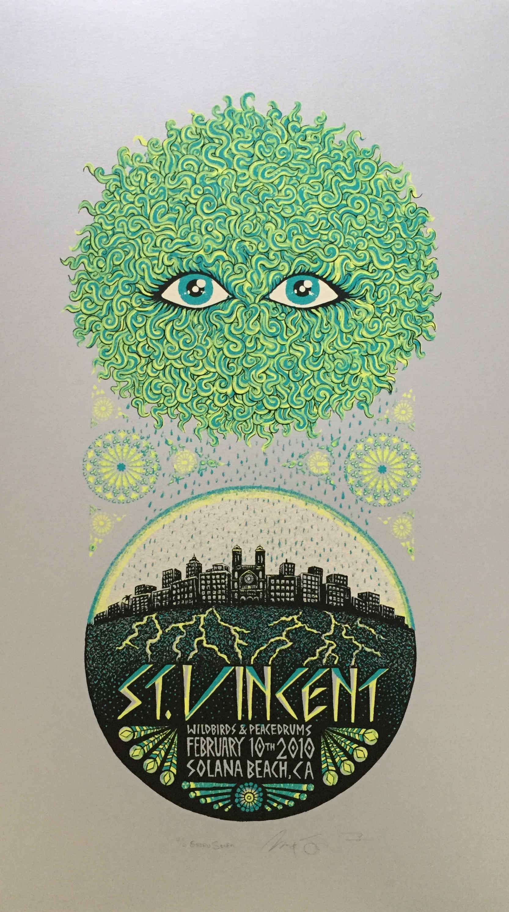"""St. Vincent Green Silver Variant #4 of 4, size 14"""" x 24"""""""