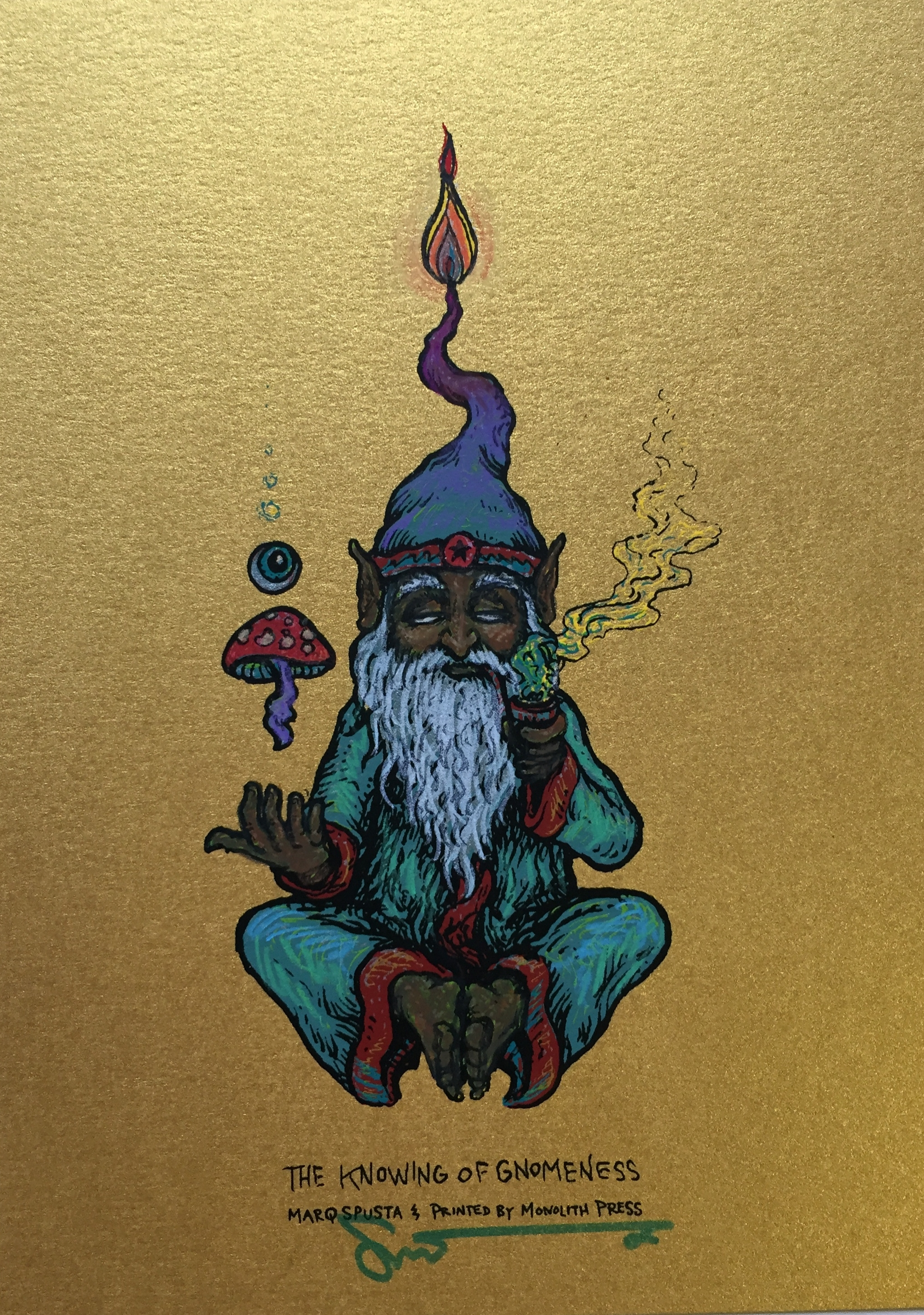 """#8 Embellished Knowing of Gnomeness 5"""" x 7"""" on Gold $160"""
