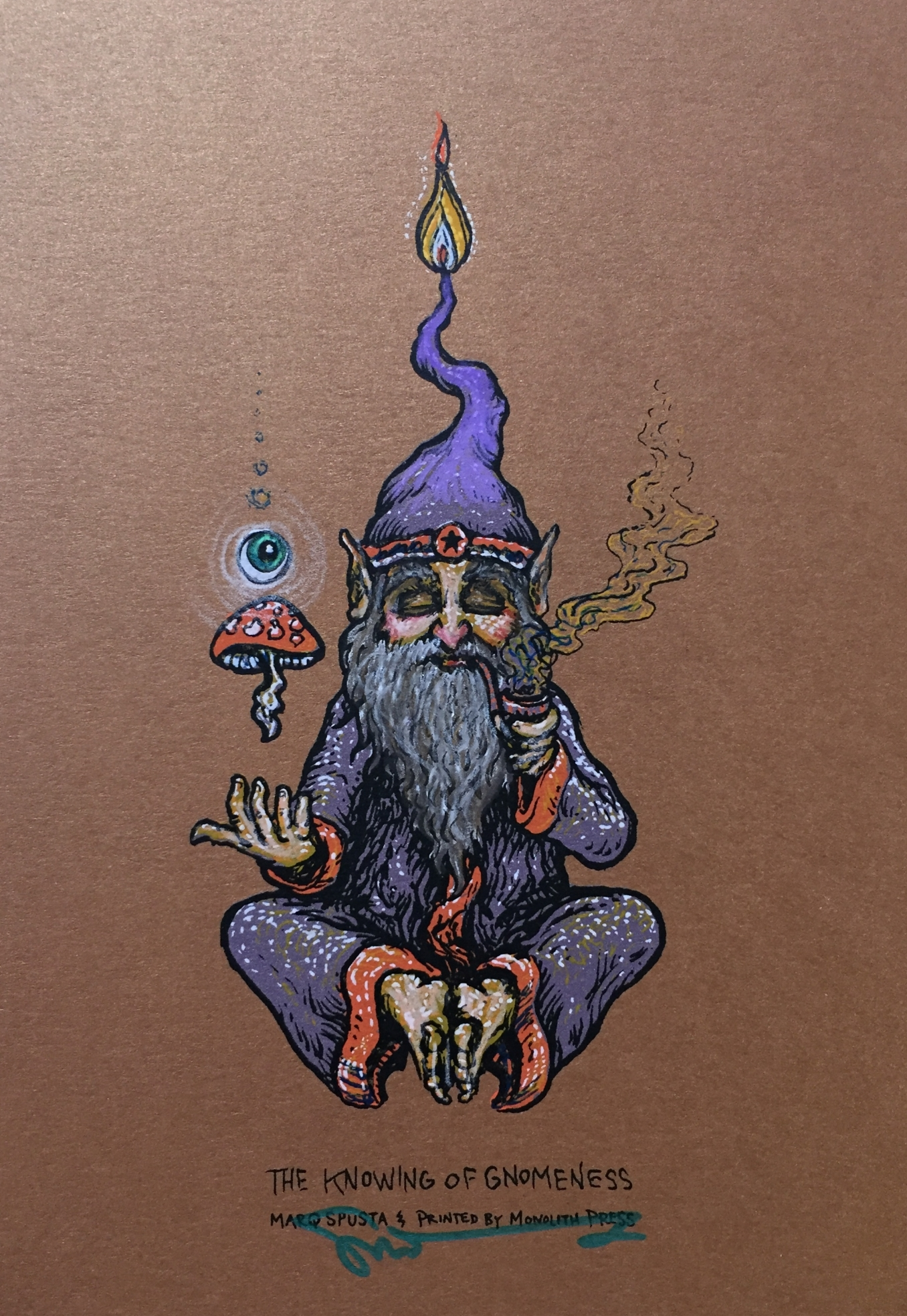 """#10 Embellished Knowing of Gnomeness 5"""" x 7"""" on Copper $160"""