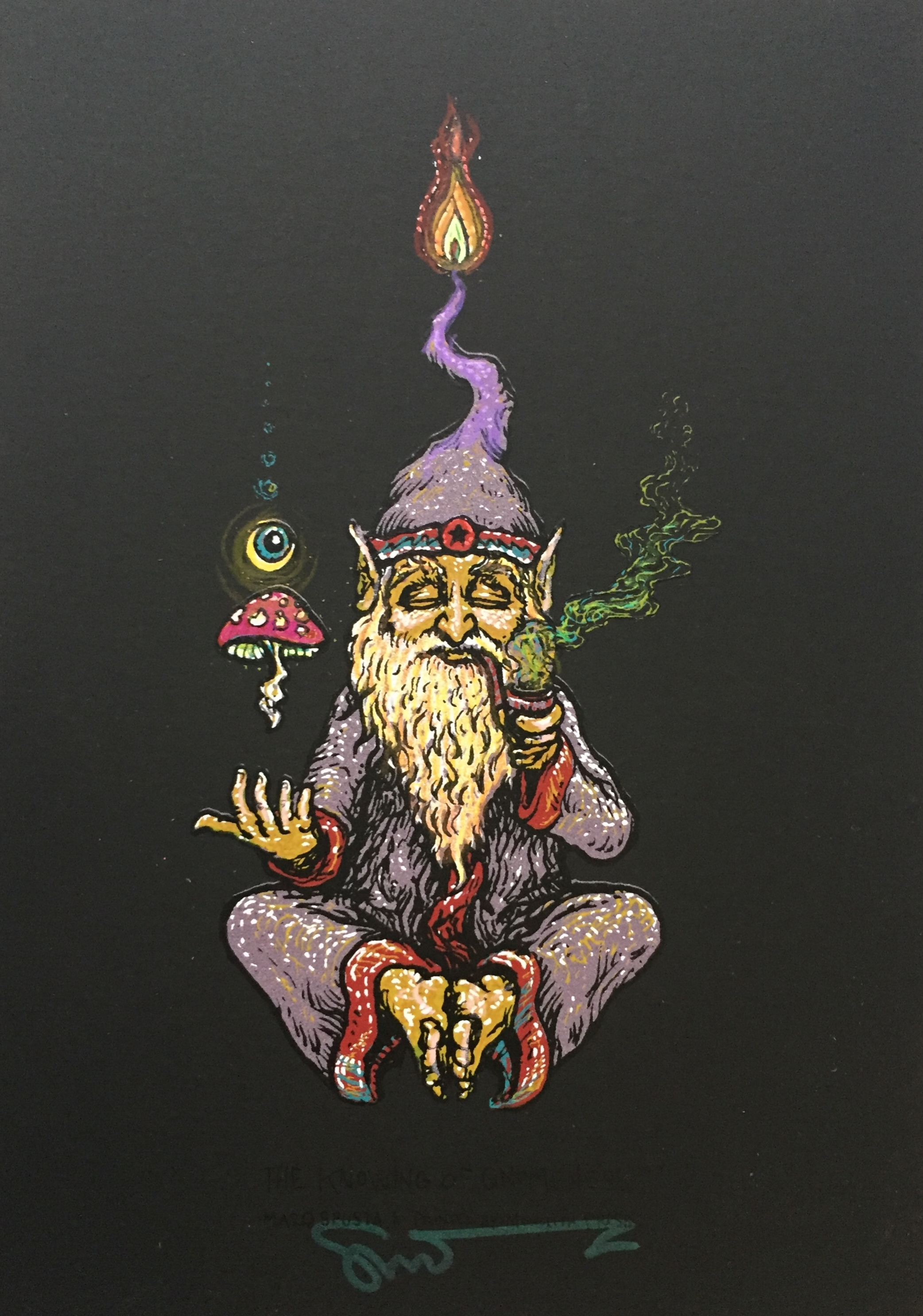 """#7 Embellished Knowing of Gnomeness 5"""" x 7"""" on Black Rubber $160"""