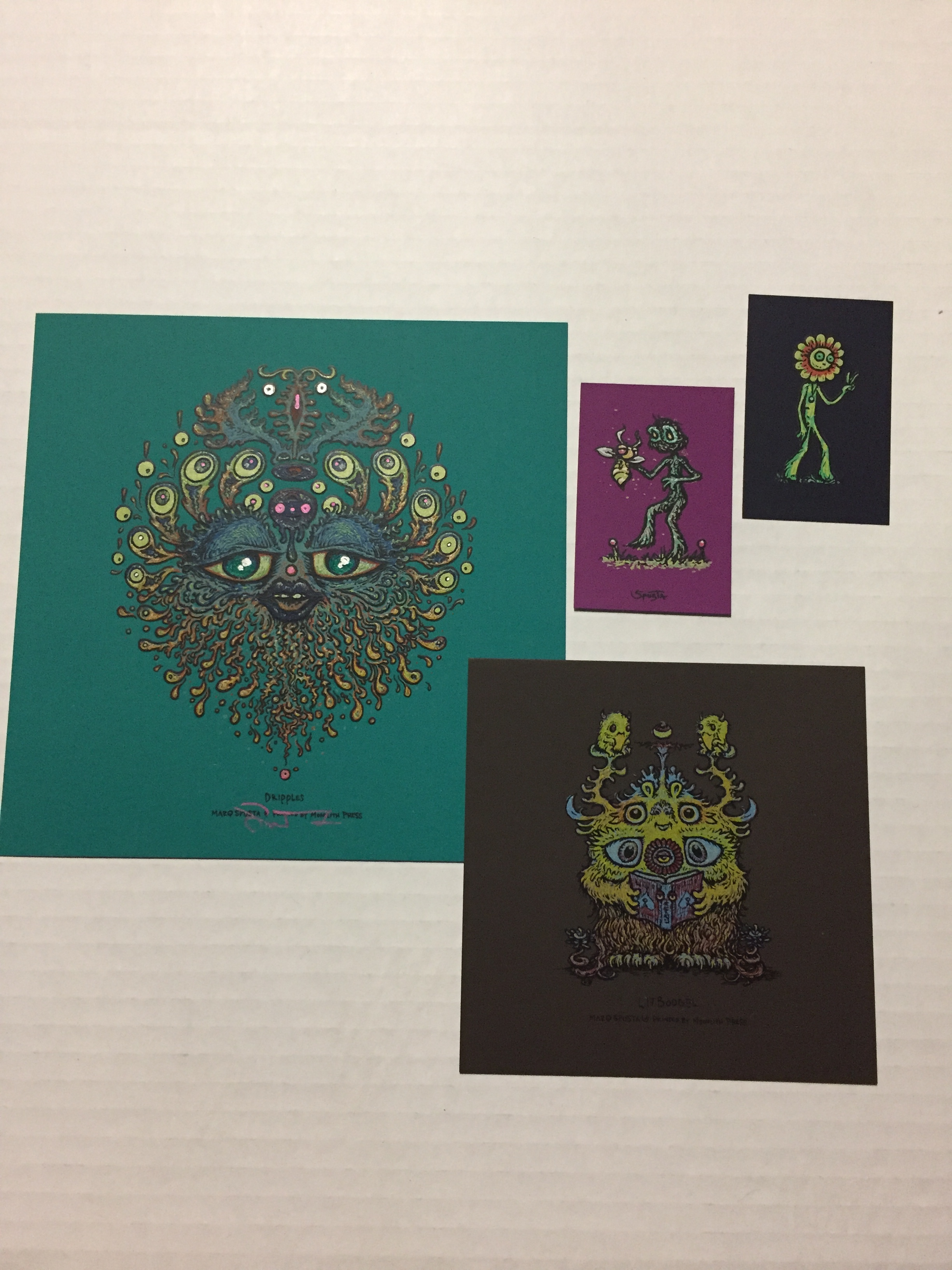 """Lightly Embellished 7"""" x7"""" Teal Dripples + Brown Rubber Litboogel + minis pictured"""
