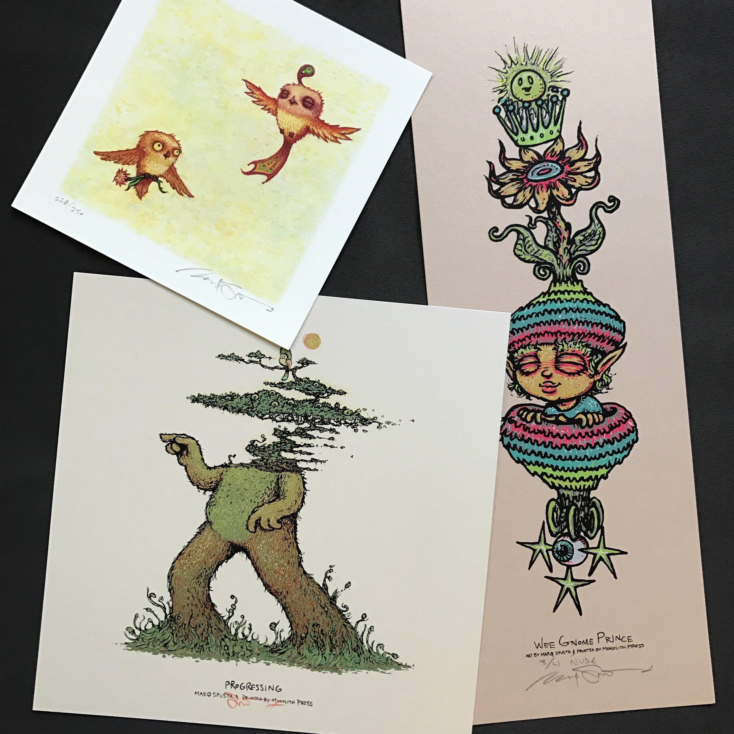 $200 #16 Progressing + Nude Wee Gnome Prince (edition of 4) + Happy Pleasant Flight