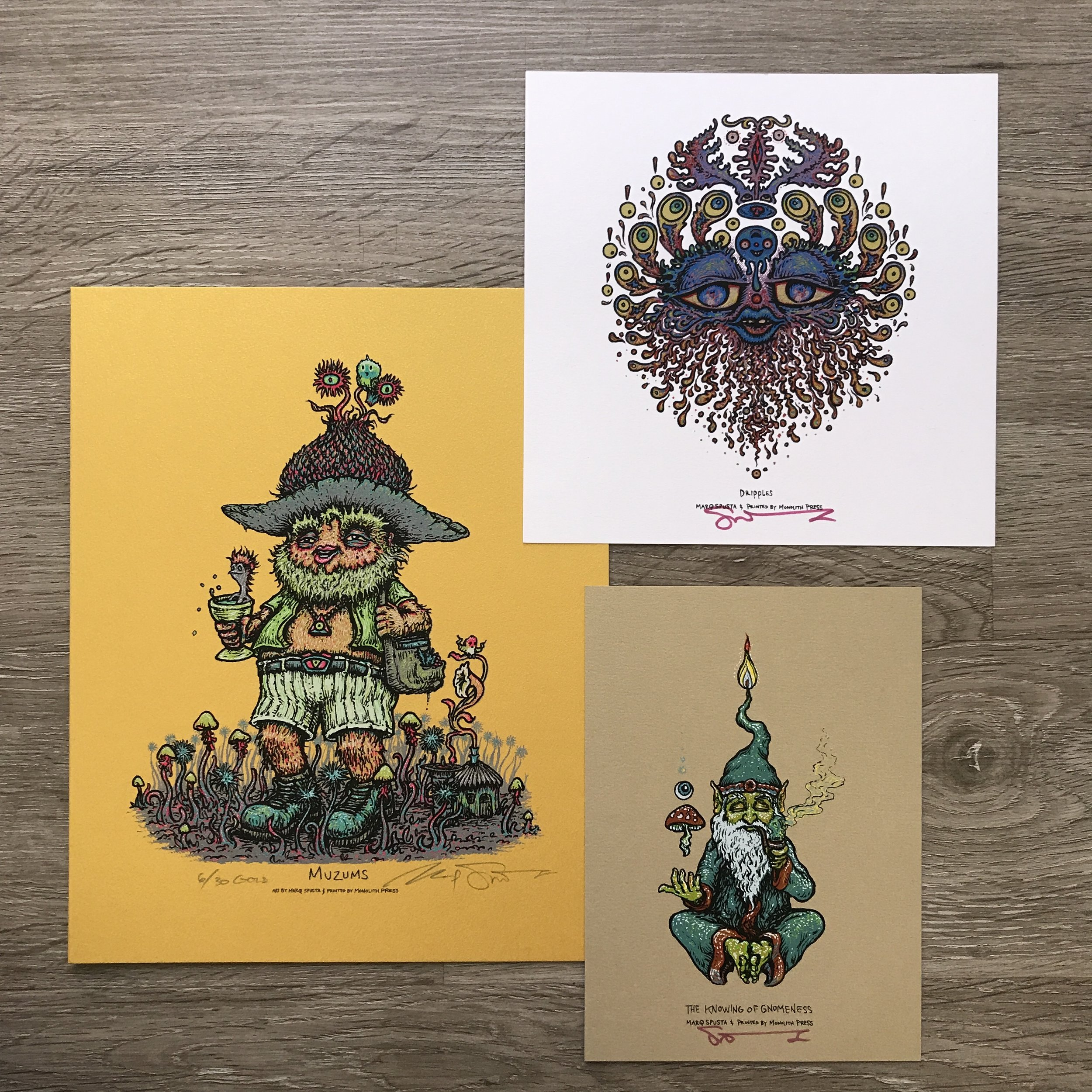 "$240 Gold Variant Muzums size 8"" x 10"" + Knowing of Gnomeness 5"" x 7"" + Dripples 7"" x 7"""