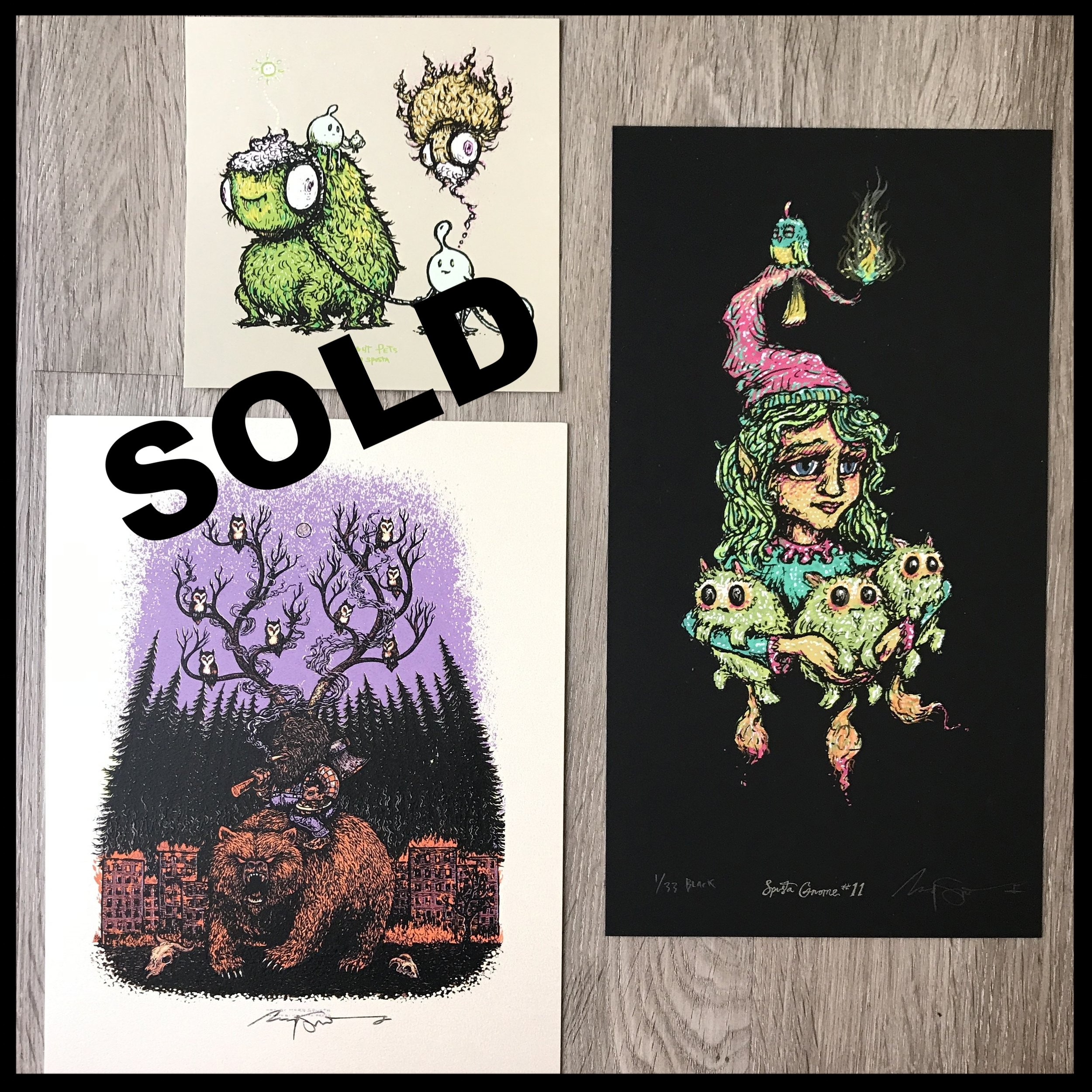 "$200 - PACK Q - Gnome 11 Lightly embellished Full Size 6"" x 11"" + Grizzly Adamz Handbill + Thought Pets 5"" x 5"""