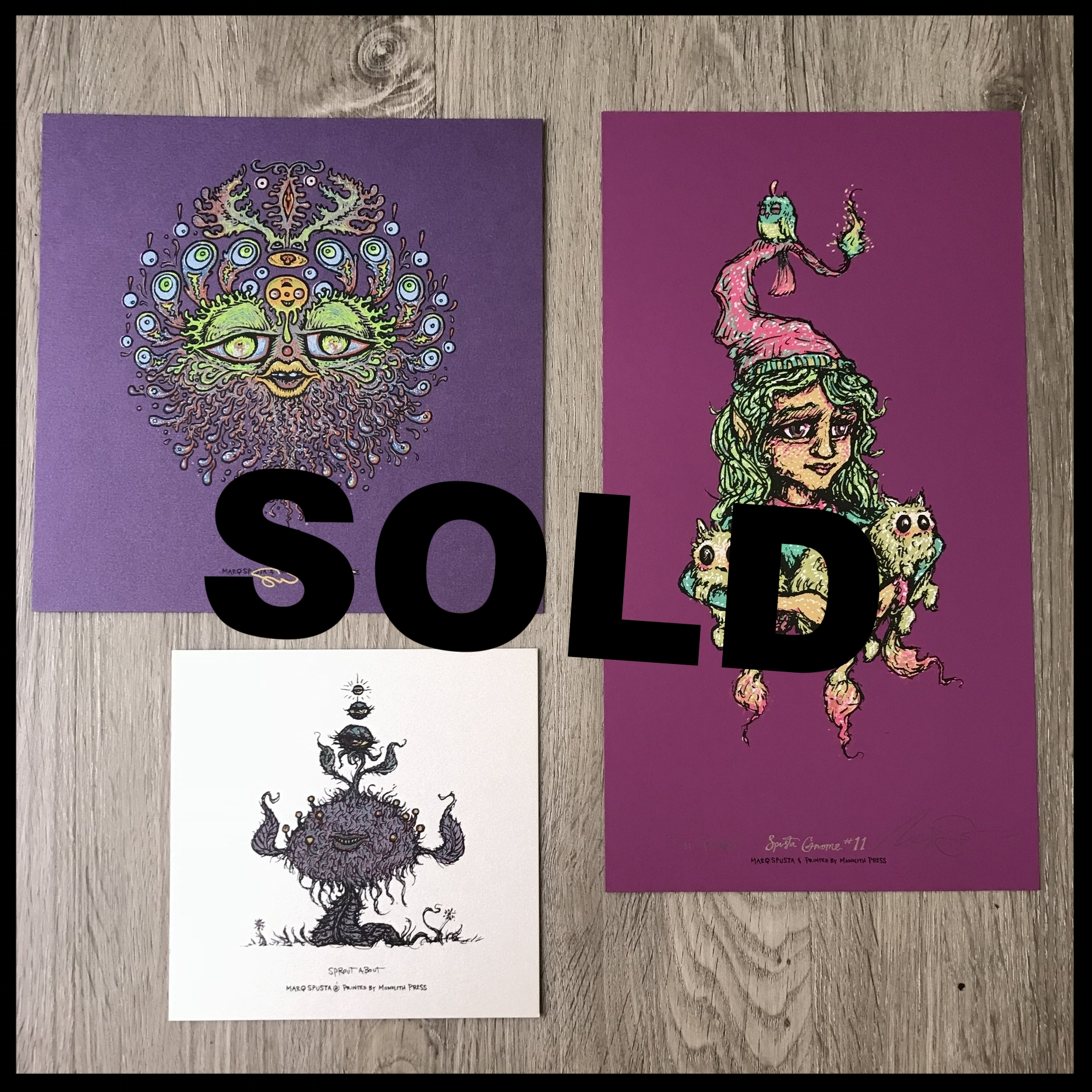 "$150 - PACK L - Dripples 7"" x 7"" + Full Size Gnome 11 Print 6"" x 11"" lightly embellished + Sprout About 5"" x 5"""