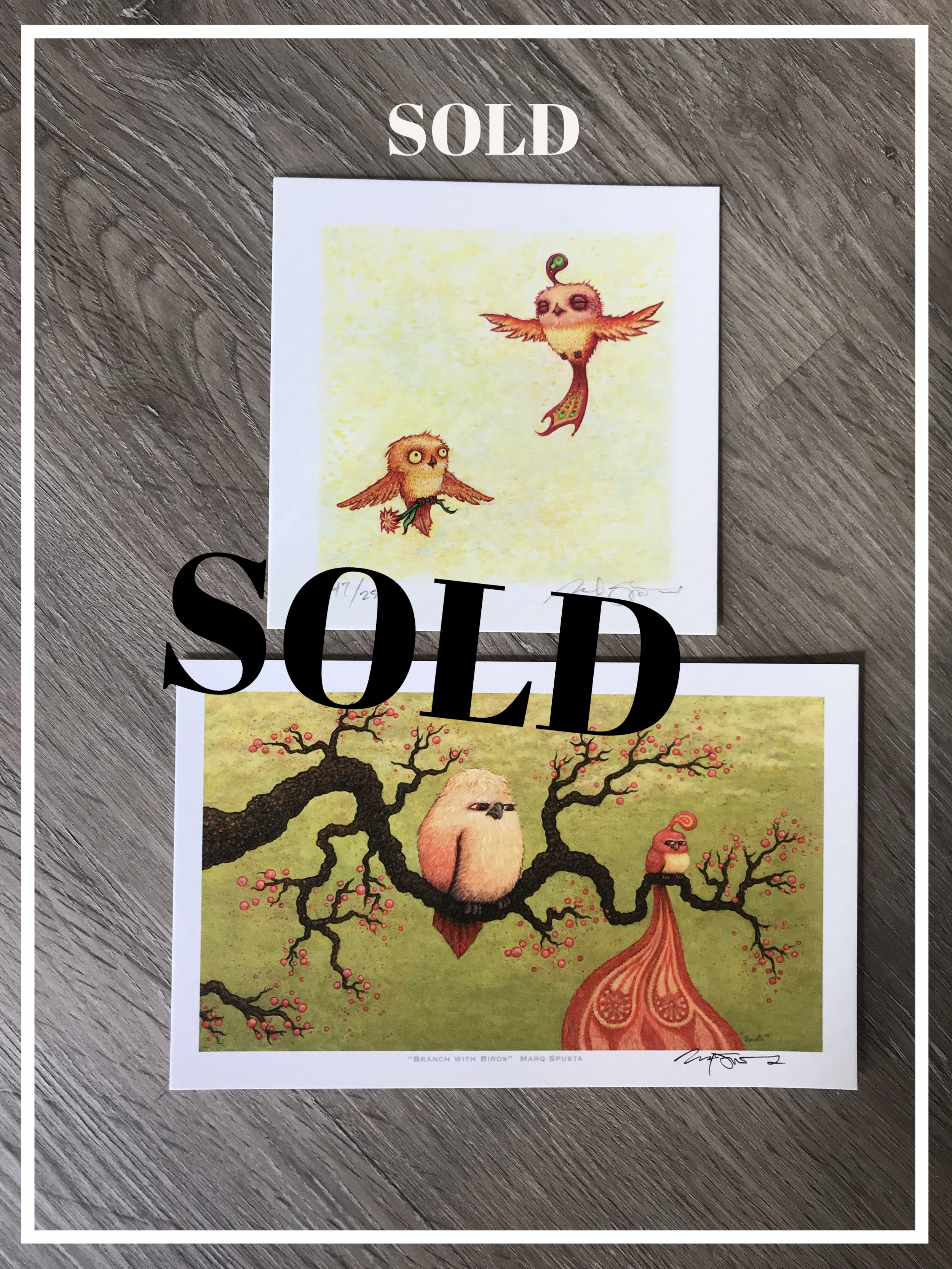$150 Branches with Birds + Happy Pleasant Flight Giclee