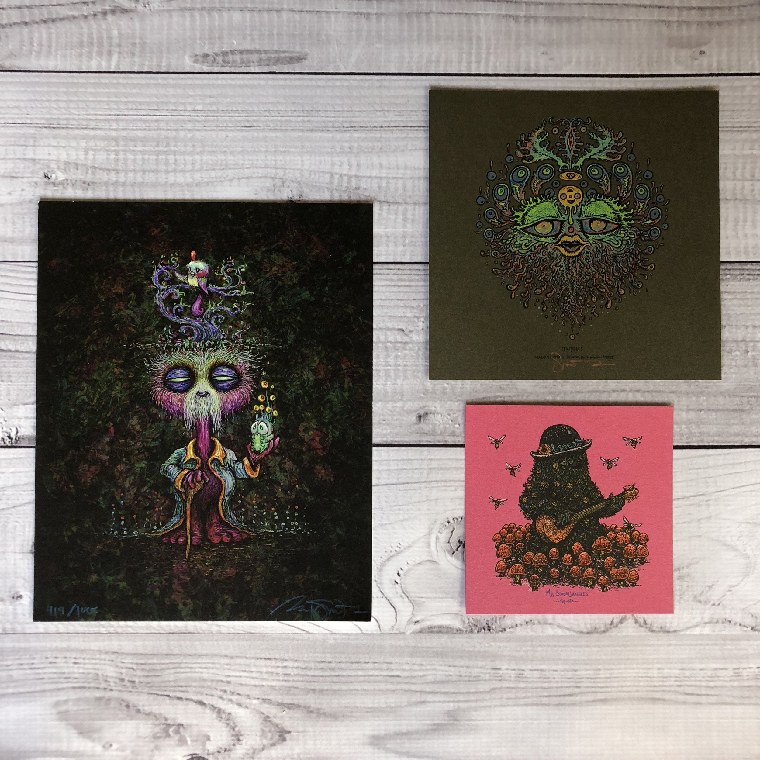 """$100 PACK 1 Includes The Wuz Is (8"""" x 10""""), Dripples (7"""" x 7"""") and Mr. Bloomjangles (5"""" x 5"""")"""