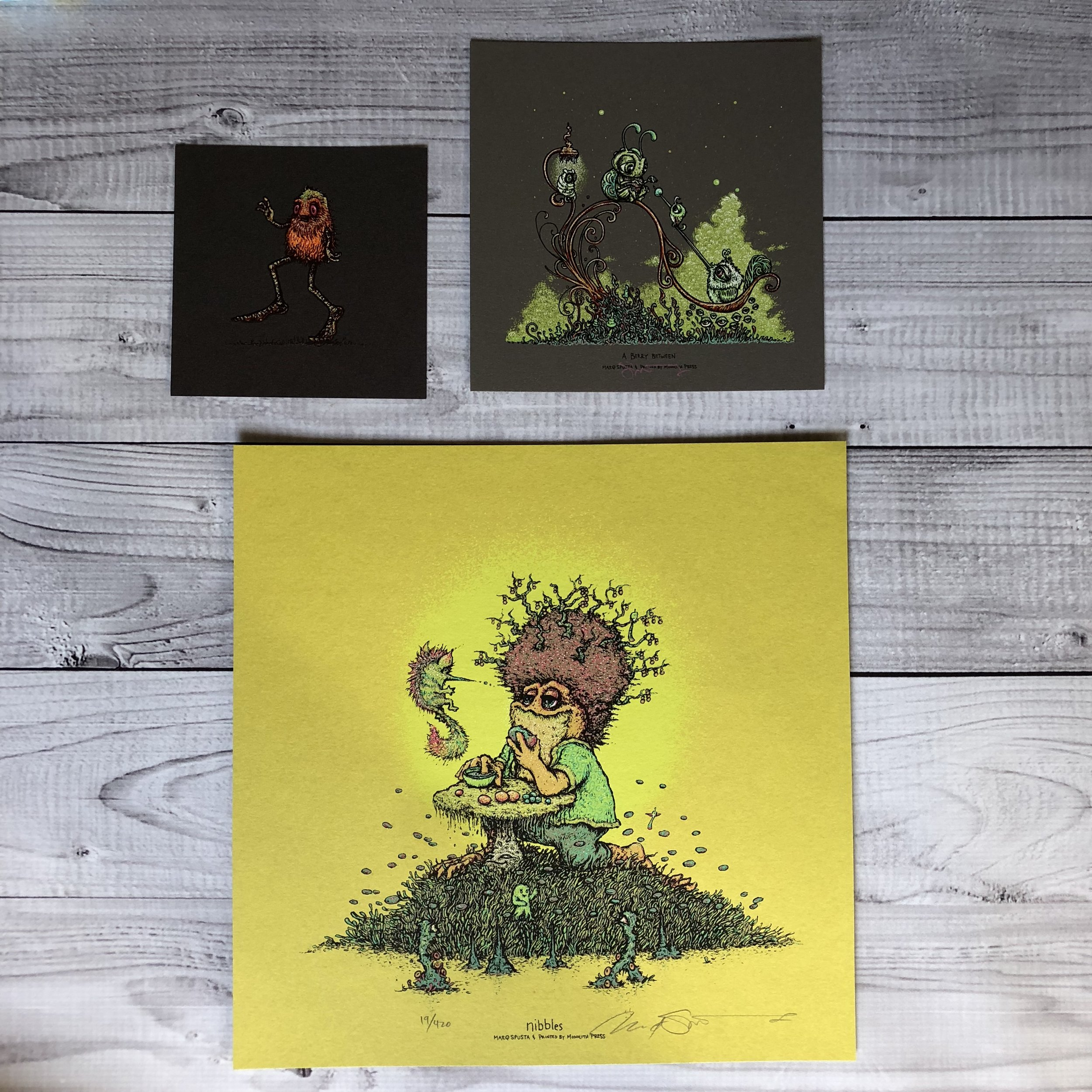 """$80 PACK 3 Includes Nibbles (12"""" x12""""), A Berry Between (7"""" x 7"""") and Meezgeez (5"""" x 5"""")"""