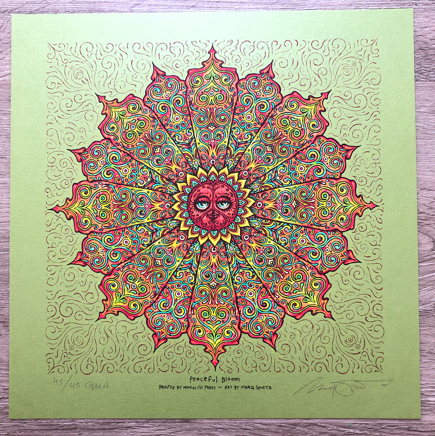 """Green Peaceful Bloom 12"""" x 12"""" edition of 45"""
