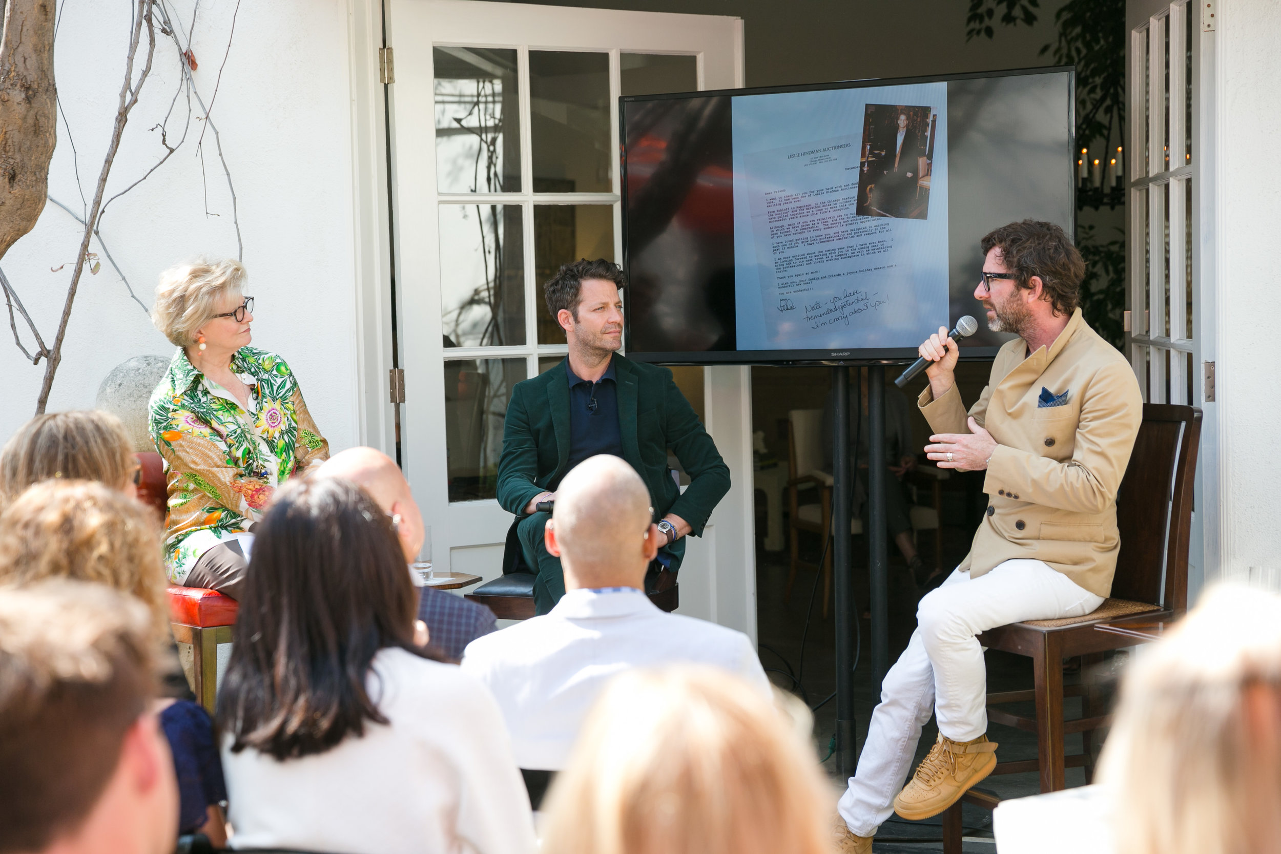 "Inspiring keynote talk called ""Life Beyond Design"" with Charlotte Moss,  Nate Berkus  and Davit Netto hosted by  Dessin Fournir."
