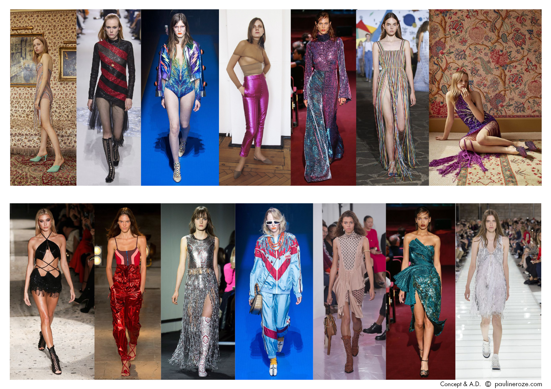 From left to right:  Attico, Dior, Gucci, Hillier Bartley, Halpern, Vionnet, Attico, Julian MacDonald, Isabel Marant, Paco Rabanne, Gucci, Chloé, Halpern, Louis Vuitton