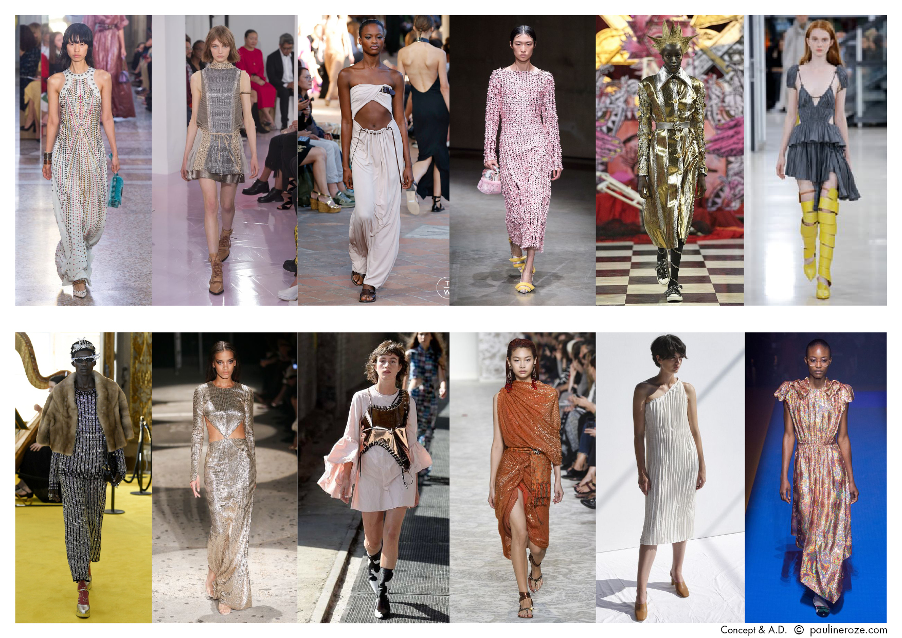 From Left to Right:  Bottega Veneta, Chloé, Alberta Ferretti, Christopher Kane, Dilara Findikoglu, Y-Project, Gucci RST, Julien MacDonald, Marques Almeida, Etro, Shaina Motte, Gucci