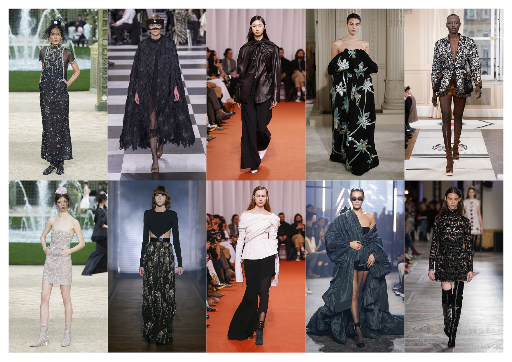 From left to right, top to bottom:  Chanel, Christian Dior, Ellery, Valentino, Schiapparelli,  Chanel, Givenchy, Ellery, Alexandre Vauthier, Giambattista Valli