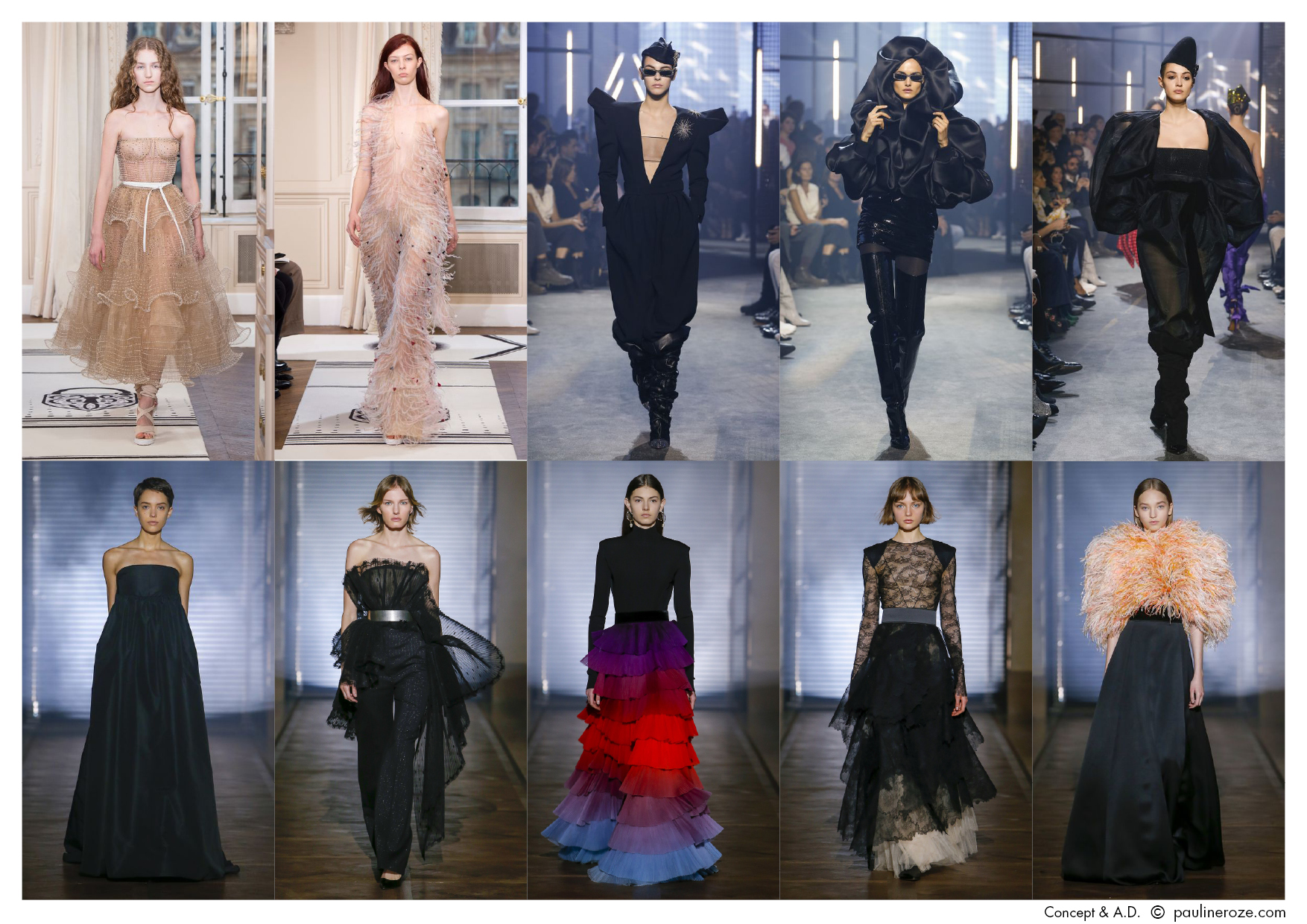 Top row, left, Schiaparelli- middle and right, Alexandre Vauthier, Bottom row, all, Givenchy