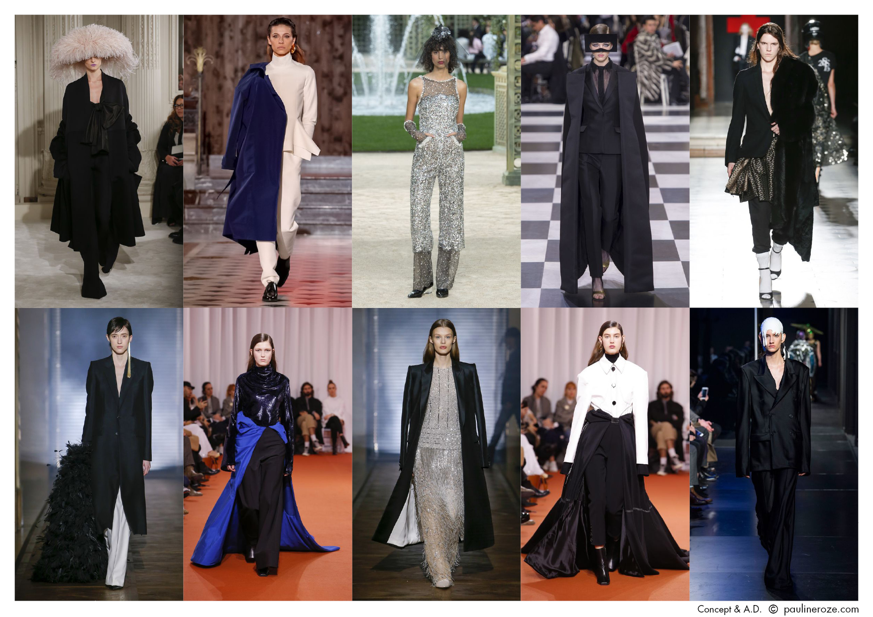 From Left to Right, Top to Bottom:  Valentino, Maison Rabih Kayrouz, Chanel, Christian Dior, A.F. Vandervorst,  Givenchy, Ellery, Givenchy, Ellery, Maison Margiela