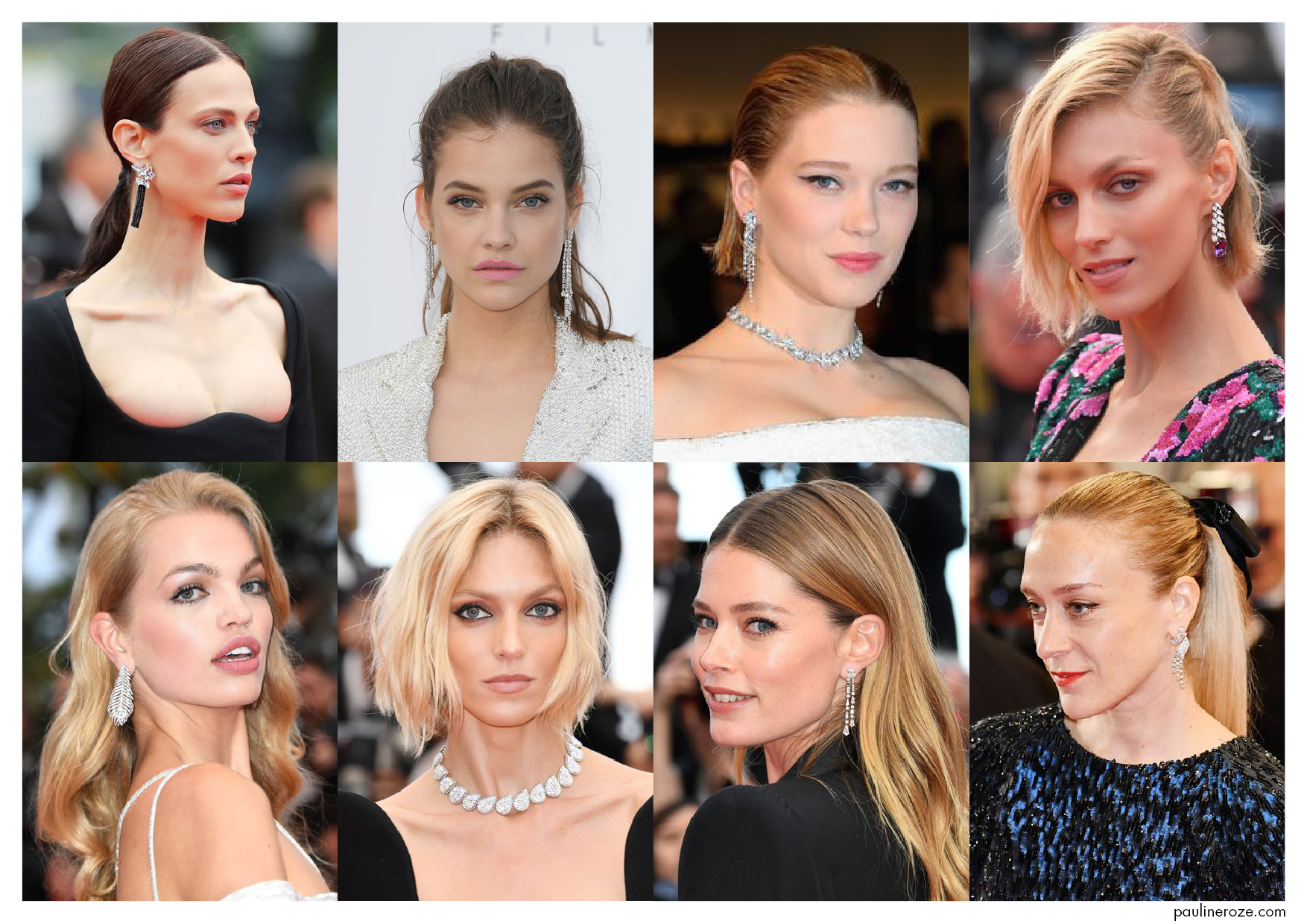 From Top to Bottom, Left to Right:  Aymeline Valade in Boucheron, Babara Palvin in Messika, Léa Seydoux in Boucheron, Anja Rubik in Boucheron, Daphne Groeneveld in Boucheron, Anja Rubik in Boucheron, Doutzen Kroes in Piaget, Chloë Sevigny in Chanel Joaillerie.