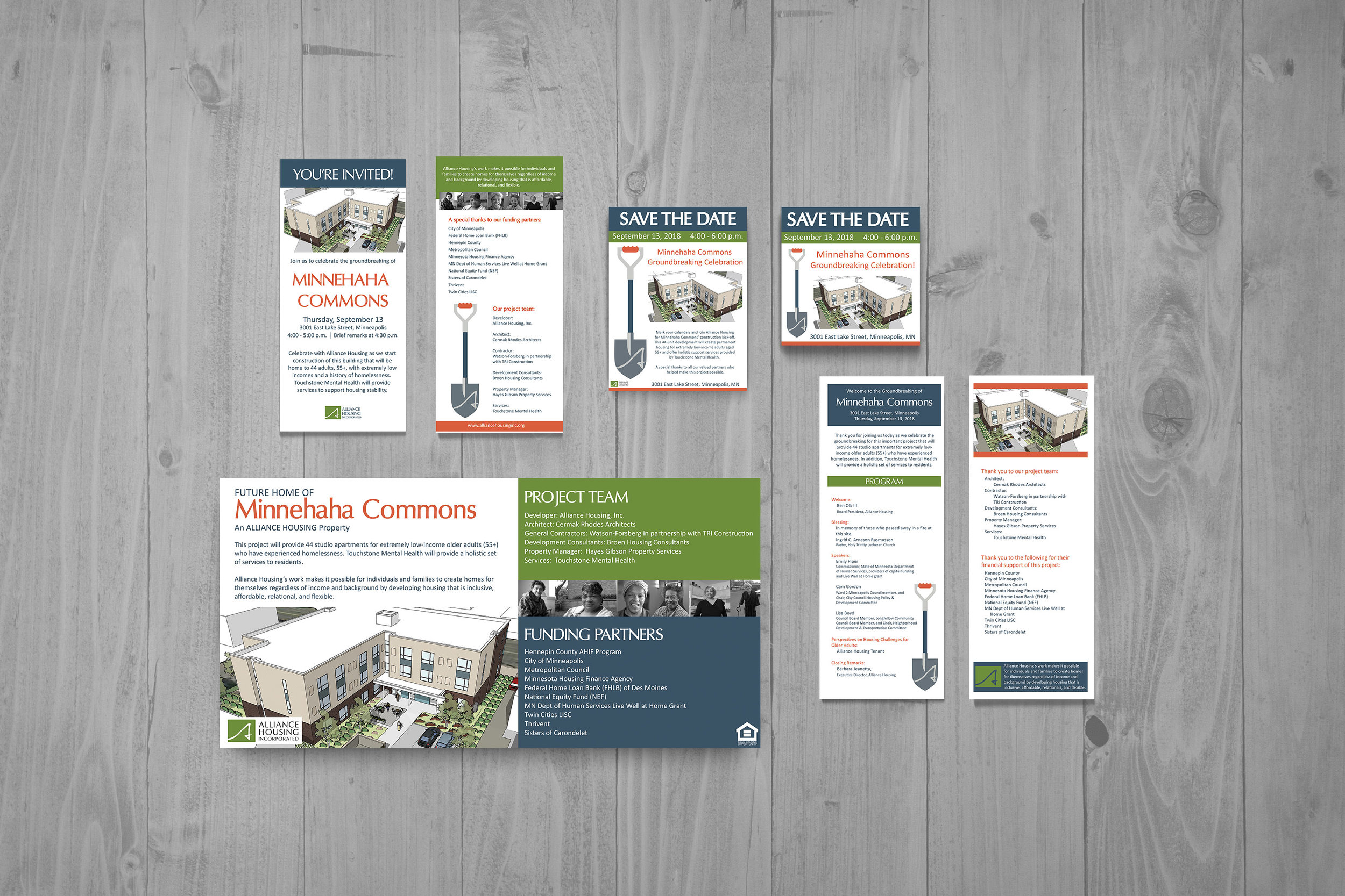 Invitation Suite Design - Save the Date, Invitation, Program, Construction Site Sign