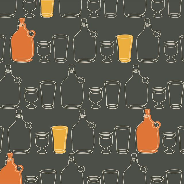 We have been loving patterns lately and with the return of patio season we've also been hitting up quite a few #craftbreweries. We could see this pattern on the bathroom walls. With pops of color, it brightens up any space.