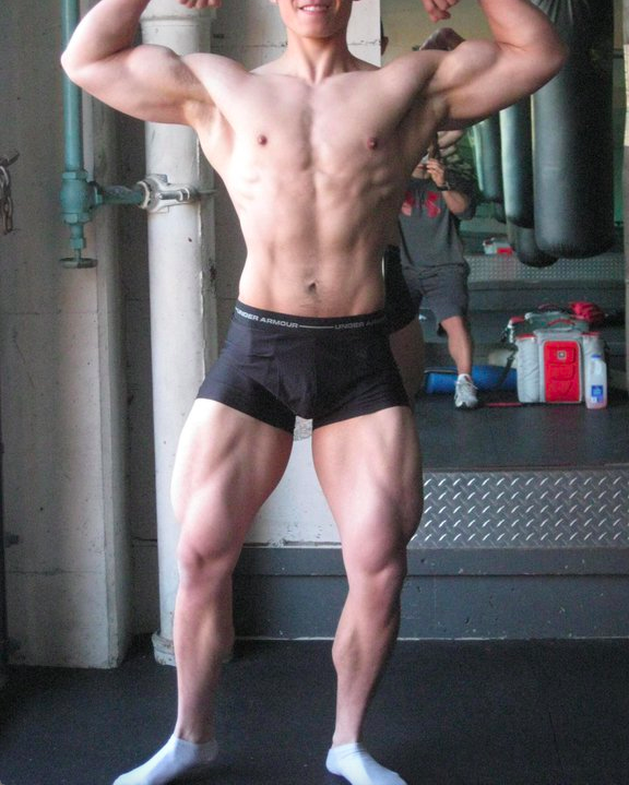 22 years old. I started lifting weights at 18 years old when I started college. Over the course of 4 years, I put on 75 lbs and ended up at 195-200 lbs. Subsequently, I hired a contest prep coach and dieted down to 150 lbs over the course of 6-7 months. This was the result.