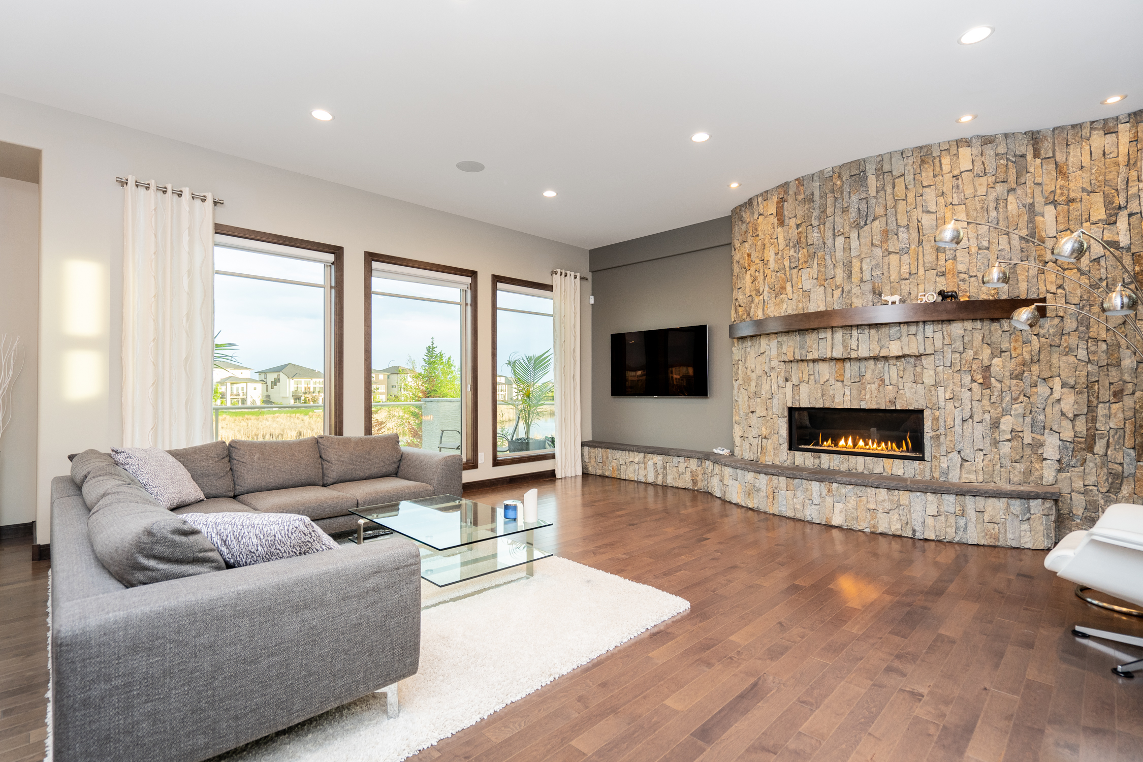 The fireplace adds warmth to a great living space.