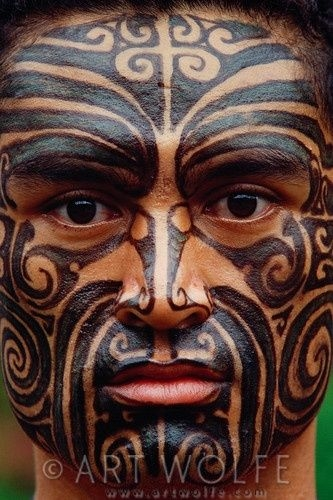 New Zealand Maori Face Tattoo
