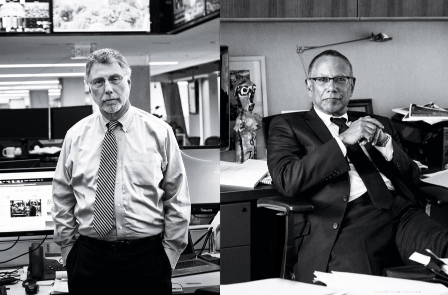Left, Marty Baron, executive editor of  The Washington Post;  Right,  New York Times  executive editor Dean Baquet.