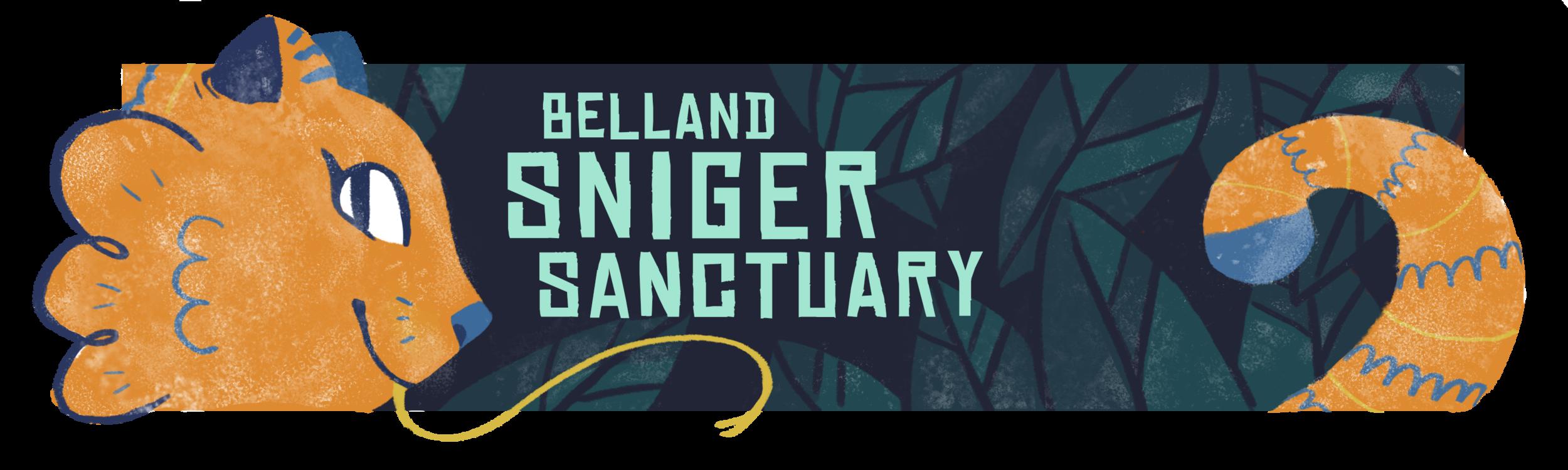 Belland Sniger Sanctuary.  Banner for the Ignite film website, modeled after wildlife preserves. digital. 3x10in.