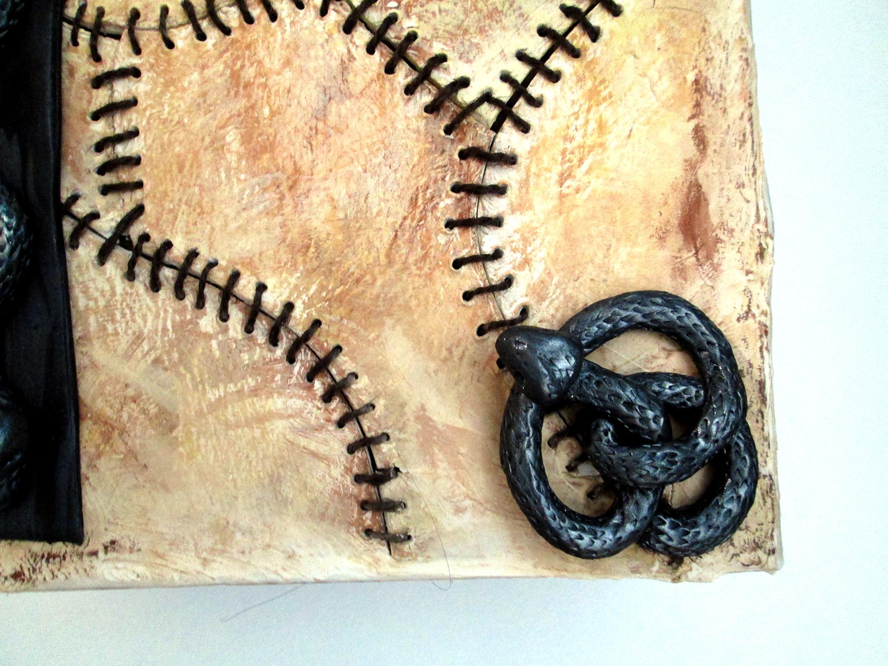 Fleshbound book corner detail  paperclay, ploymer clay