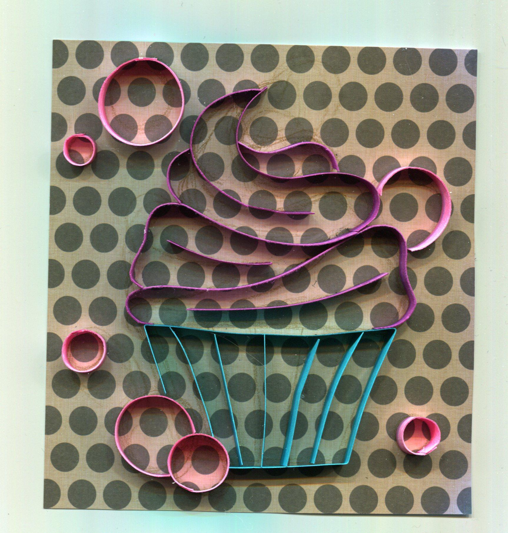 Bubblegum Cupcake  3D paper linework