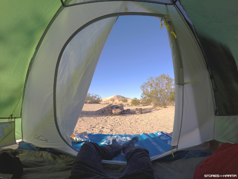 View from the tent. Kelso Dunes straight ahead.