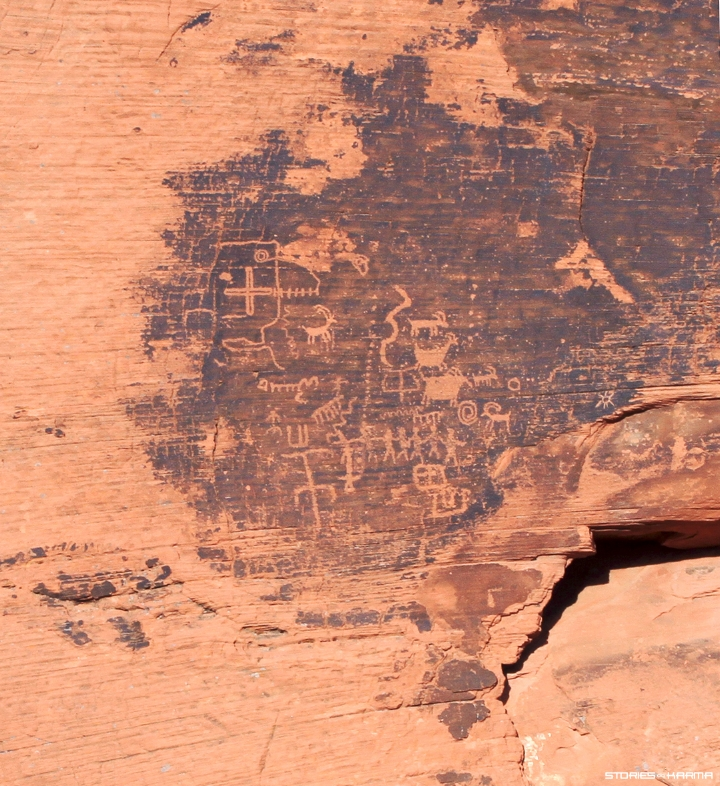 "Many petroglyphs are found on black ""desert varnish""."