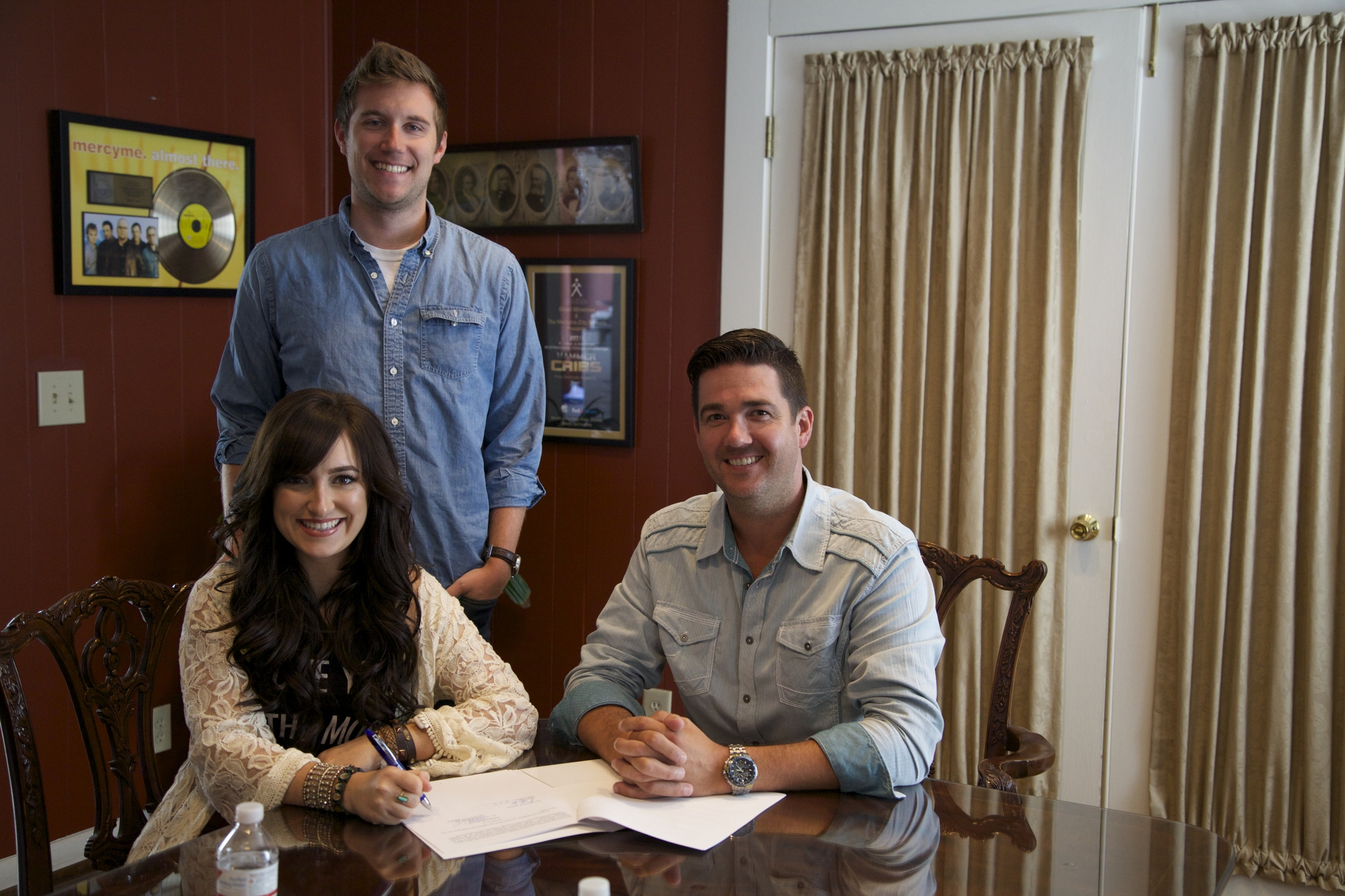 Pictured L-R: Briana Tyson, Chase Armstrong (Artist Development & Management), Chris Blair (Owner/President)