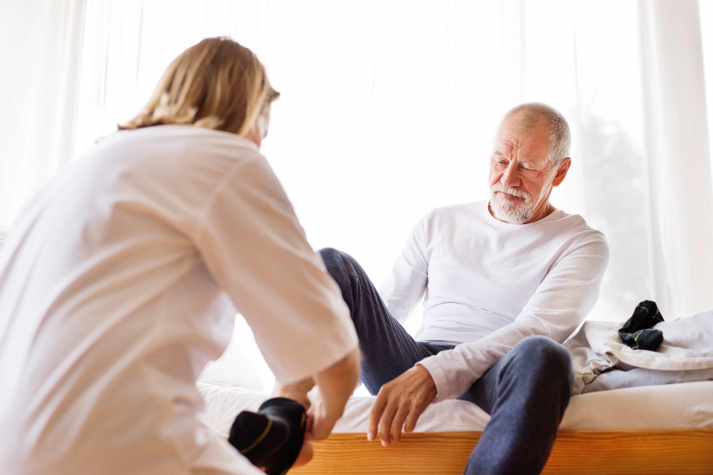 man in stroke rehab facility