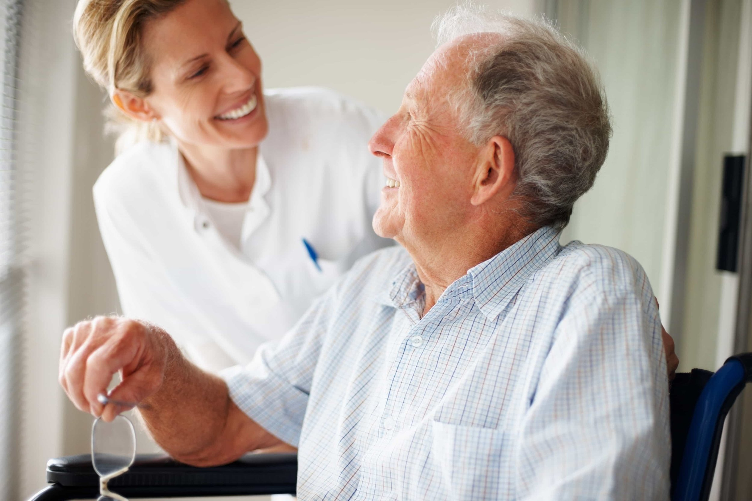 man in dementia occupational therapy with nurse