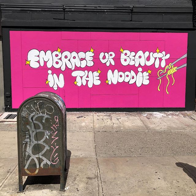 My latest mural is now urp at @noodlelovenyc Kenmare and Mott Street!!!!!! Let's remember to love ourselves in this digital age, without wishing we were this or that... just love YOU, in the NOODIE. @noodlelovenyc is a female owned and operated business — I'm so grateful to work with such amazing babes. Thank you @nattycam @morganbudman and most of all @elevin101 for making this all happen!!! Go have some noods and snap a pic!!!!!