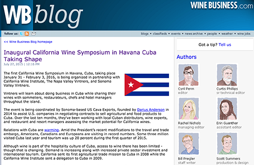 Inaugural California Wine Symposium in Havana Cuba Taking Shape