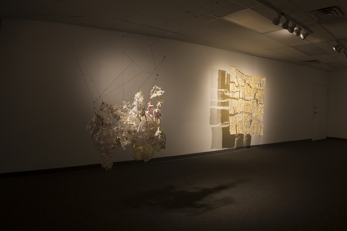 Roya Amigh,  Empty Space , 2016, paper, thread, pieces of cloth, and lace, 72 x 96 x 36 in, installation view at the Iron Tale Gallery, Lincoln, NE © Roya Amigh 2016. Courtesy of the artist and Iron Tale Gallery