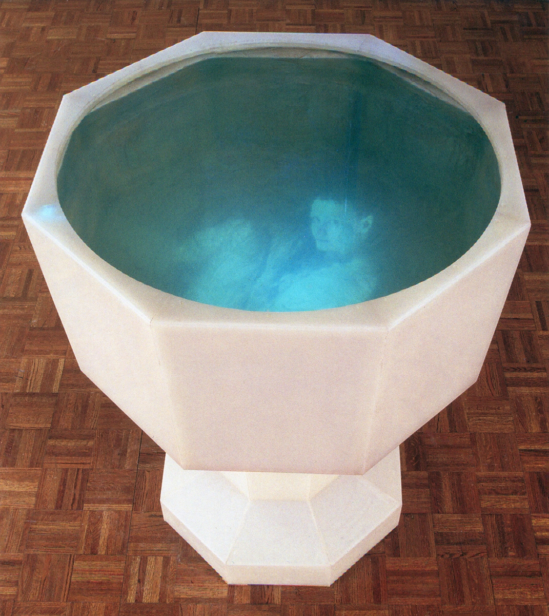 Monika Weiss,  White Chalice (Ennoia) , 2004; polypropylene, fiberglass, water, video projection, sound, 39x39x50 in. © Monika Weiss 2004. Collection Asher Remy-Toledo, NYC