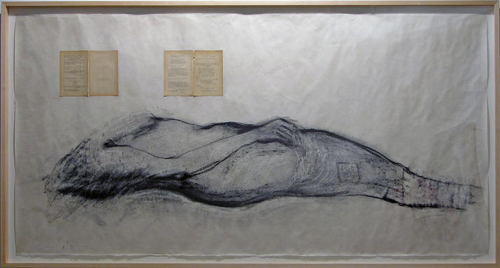 Monika Weiss,  Kordyan II , 2005; charcoal, graphite, pages from Juliusz Słowacki's 'Pisma' on rice paper, 38 x 72 in. © Monika Weiss 2005. Courtesy the artist