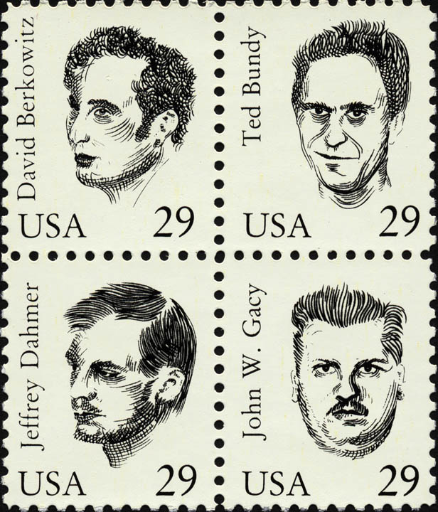 Maciej Toporowicz,  Serial Killers , 1993, an edition of 20 postage stamps sets, silkscreen on paper, 2 x 1.75 in. / 5 x 4.5 cm © Maciej Toporowicz 1993. Courtesy of the artist and Monika Fabijanska
