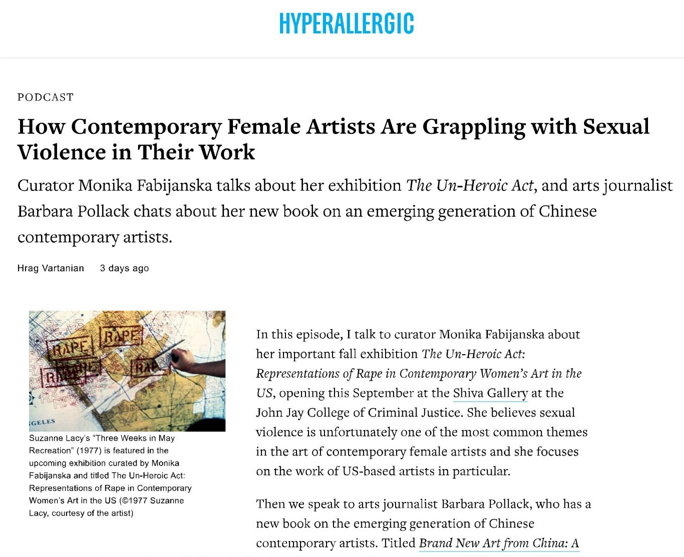 Hyperallergic podcast:  How Contemporary Female Artists Are Grappling with Sexual Violence in Their Work , Hrag Vartanian interviews Monika Fabijanska, July 27, 2018
