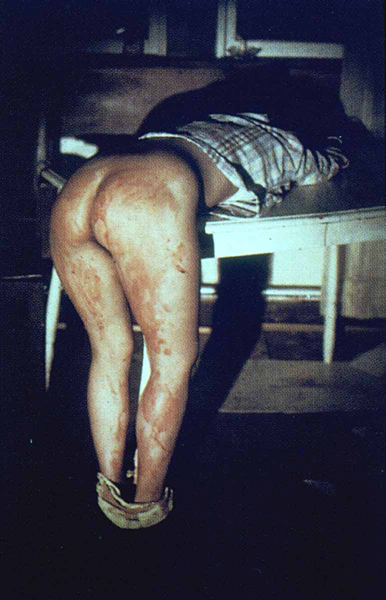 2_Ana Mendieta,  Rape Scene , 1973 (Estate print 2001), one of five color photographs, 16 x 20 in. each. © The Estate of Ana Mendieta Collection, LLC. Courtesy Galerie Lelong & Co.