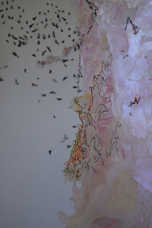 Roya Amigh,  The Coerced Contact,  2016, thread, paper, pieces of cloth, lace, 62 x 64 x 35 in., detail ©2016/2018. Roya Amigh. Courtesy of the artist