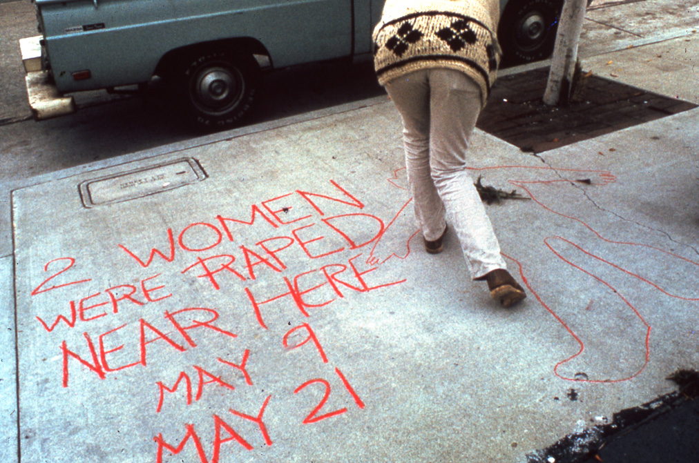 Suzanne Lacy, with Melissa Hoffman and Phranc, Three Weeks in May, 1977, performance documentation. Photograph by Suzanne Lacy