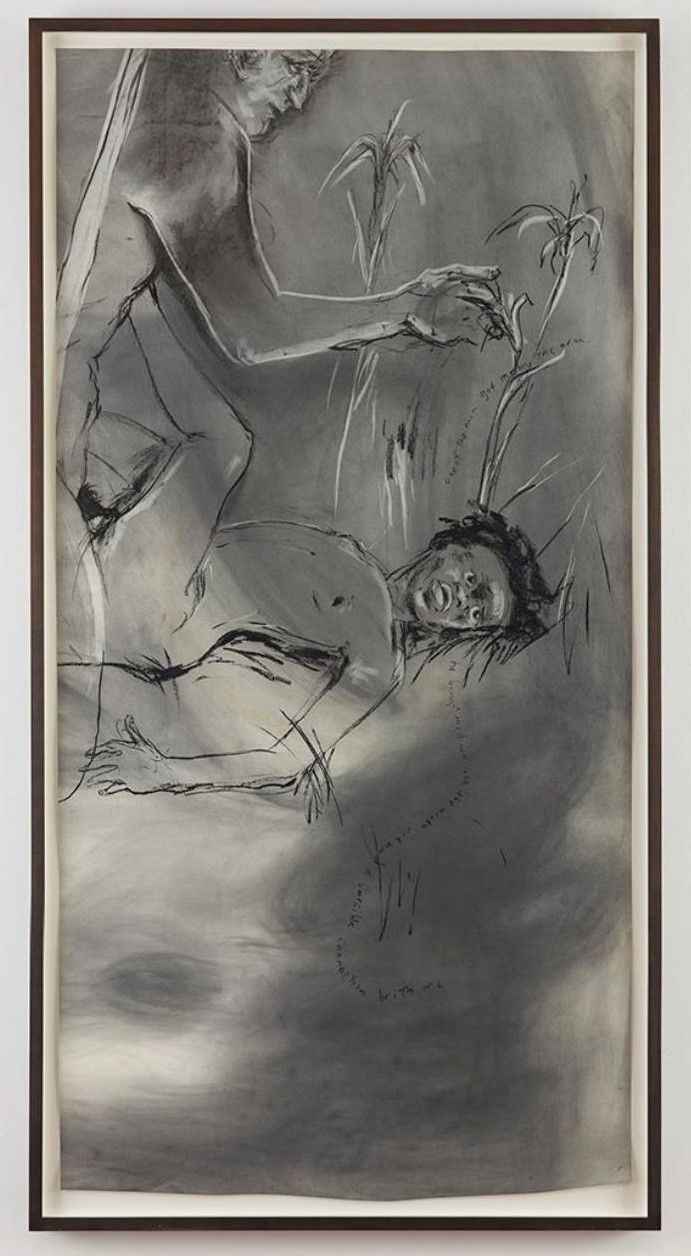 Kara Walker, Untitled, 2016, graphite on paper, 75 x 37.5 in. ©Kara Walker. Courtesy of the artist and Sikkema Jenkins & Co., New York