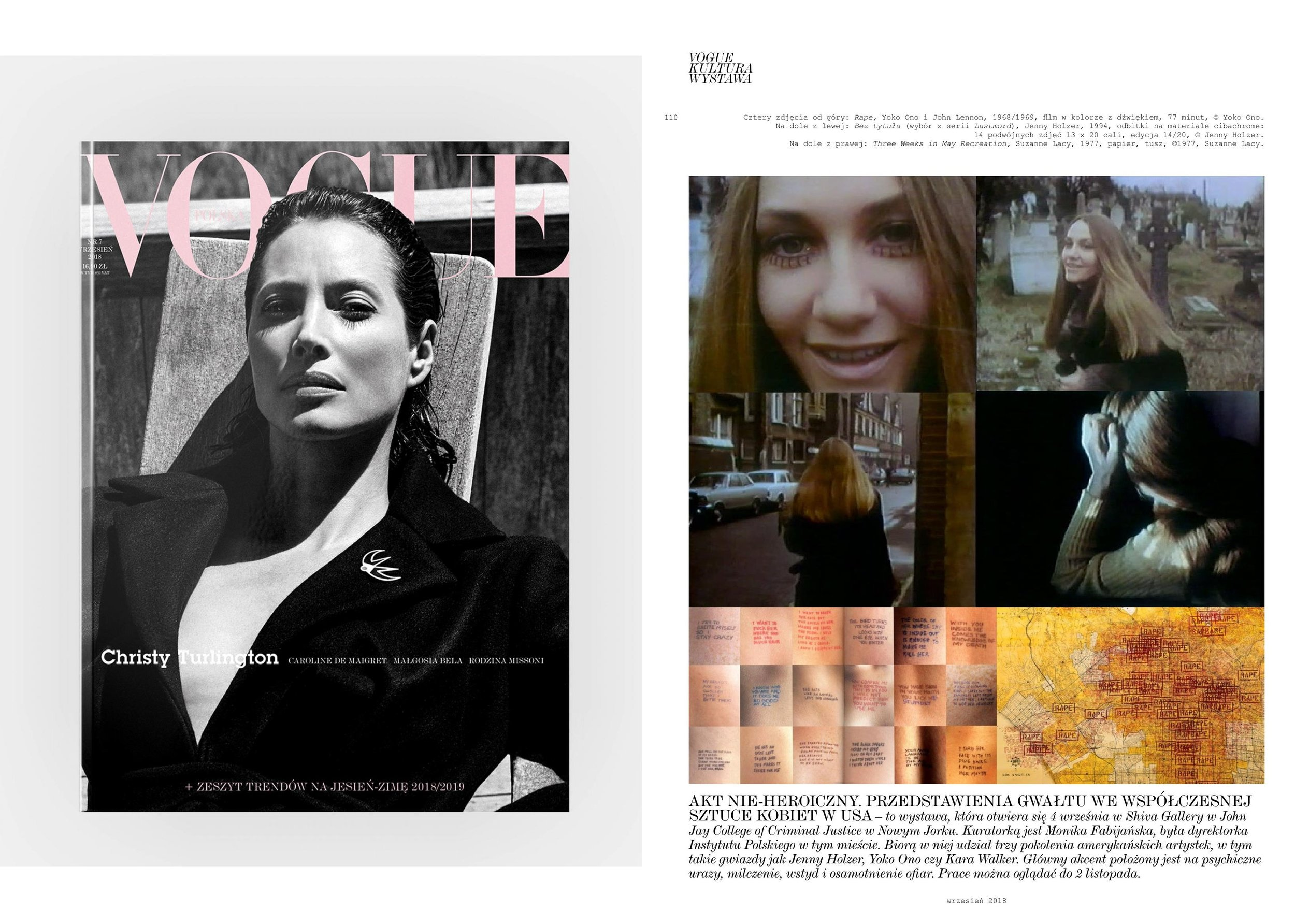Vogue Poland:  Culture - Exhibitions , September 2018 (the first Polish edition)