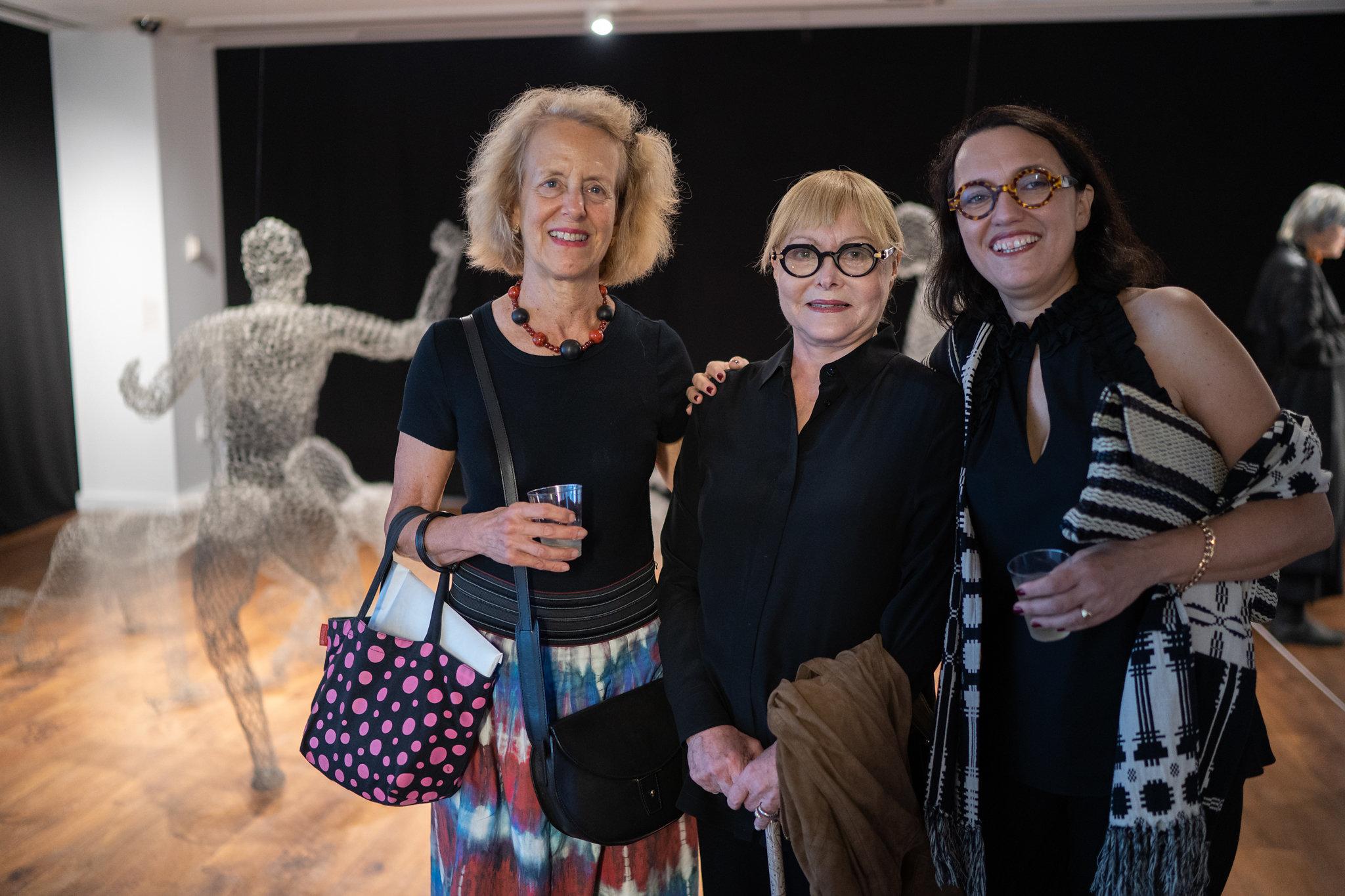 Barbara London, Carolee Thea, Monika Fabijanska. The Un-Heroic-Act opening. Photo Austin Pogrob