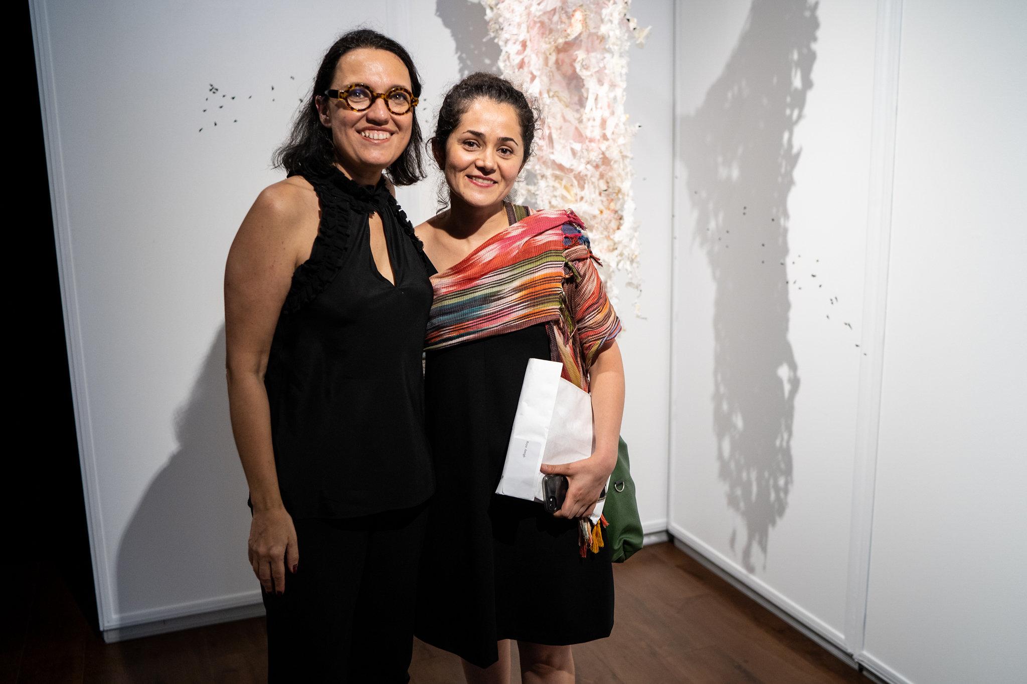 Roya Amigh, Monika Fabijanska. The Un-Heroic-Act opening. Photo Austin Pogrob