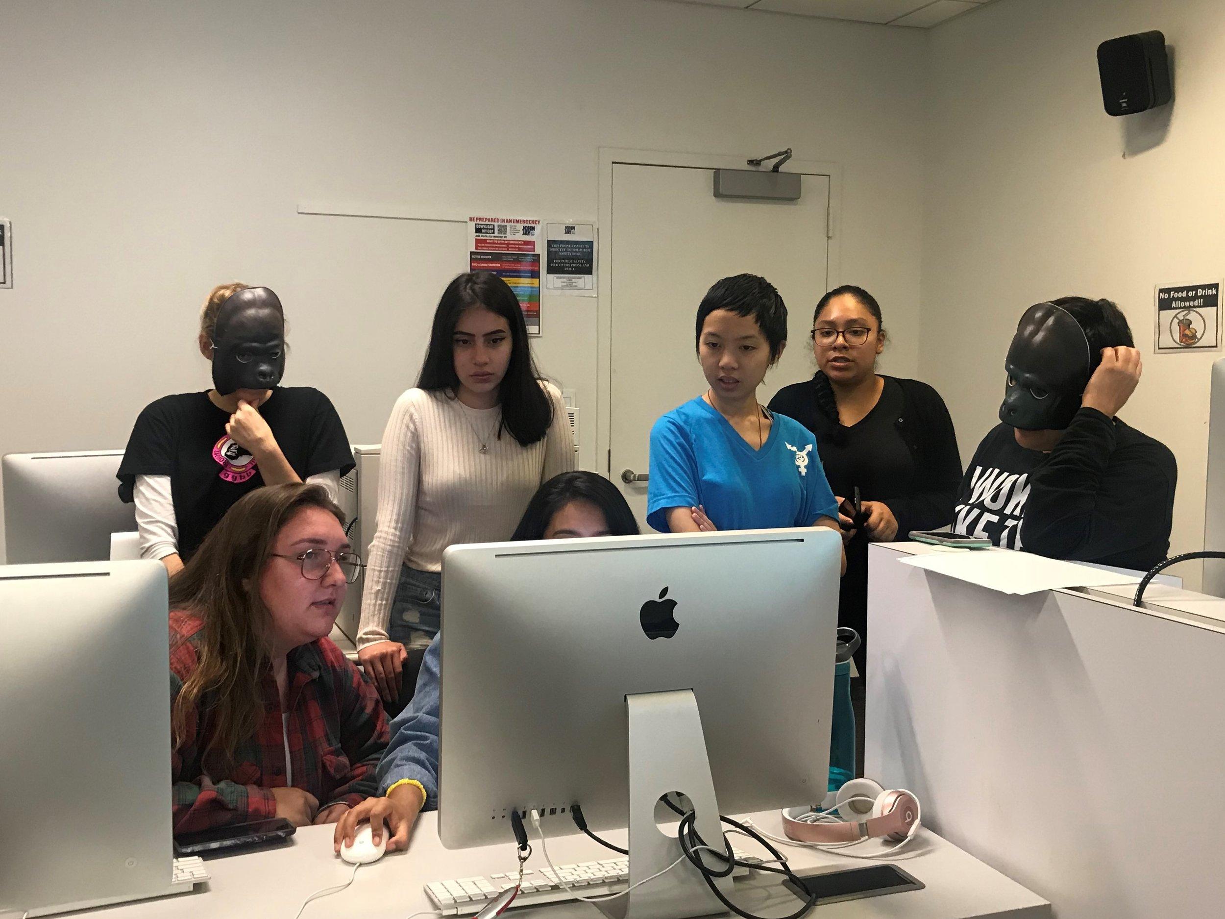 Guerrilla Girls Broadband workshop with students of John Jay College_The Un-Heroic Act_Sept. 28 2018. Photo Monika Fabijanska