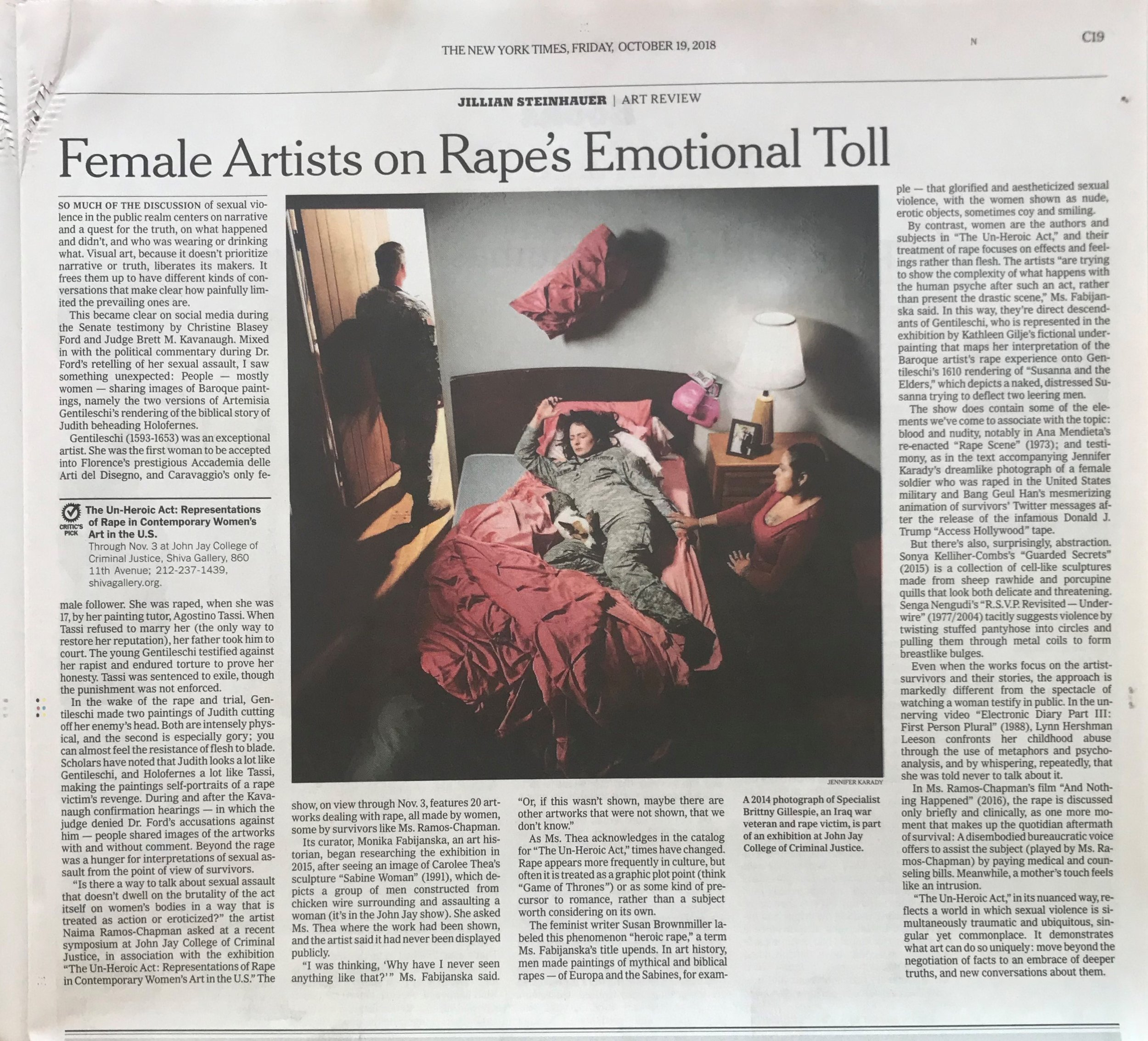The New York Times:  Female Artists Strip Rape of Its 'Heroic' Underpinnings , by Jillian Steinhauer, October 16, 2018